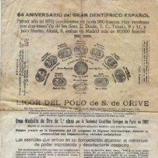Catálogos publicitarios: ANTIGUO FOLLETO PUBLICITARIO DOBLE. LICOR DEL POLO DE S. DE ORIVE. 1935. Lote 25060530