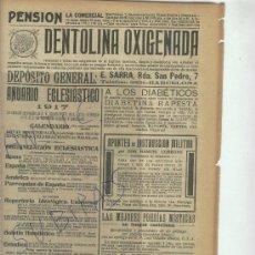 Catálogos publicitarios: RECORTE DE PRENSA. AÑO 1916. PUBLICIDAD. DENTOLINA OXIGENADA. BARCELONA.DENTRIFICO.. Lote 22978268
