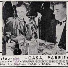 Catálogos publicitarios - PUBLICIDAD ANUNCIO DE RESTAURANT CASA PARRITA MADRID. AÑO 1939 - 23163375