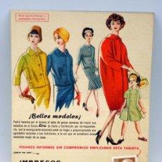 Catálogos publicitarios: PUBLICIDAD CURSO EVA CORTE Y CONFECCIÓN ACADEMIA AEI 1959. Lote 23800067