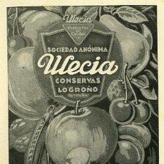 Catálogos publicitarios: PUBLICIDAD. ANUNCIO DE CONSERVAS WECIA LOGROÑO. AÑO 1939. Lote 23840298