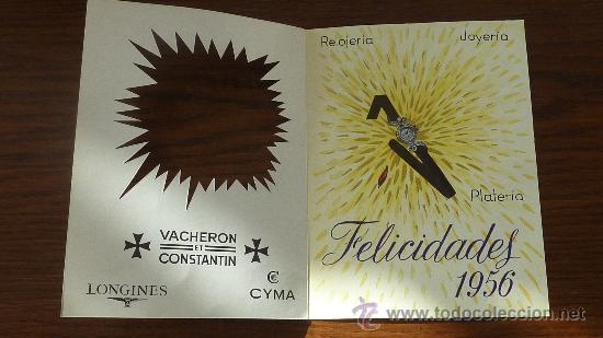 Felicitacion de navidad de marcas de relojes y joyeria Girod. 1956. Longines, Cyma, vacheron... segunda mano