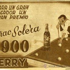 Catálogos publicitarios: PUBLICIDAD. ANUNCIO DE COÑAC BRANDY 1900 DE TERRY PUERTO DE SANTA MARIA CADIZ. TEMA DEPORTE BILLAR.. Lote 24155521