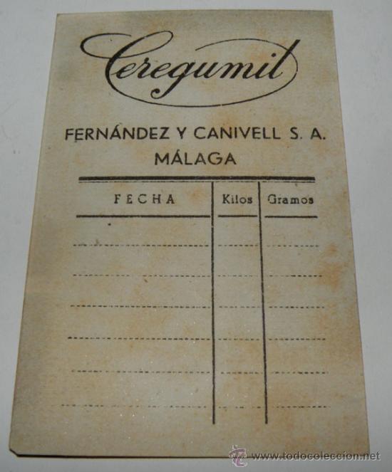 Catálogos publicitarios: ANTIGUA TARJETA DE FARMACIA DE CEREGUMIL - FERNANDEZ Y CANIVELL SA MALAGA - PARA APUNTAR EL PESO DEL - Foto 2 - 24621485