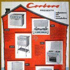 Catálogos publicitarios: CORBERÓ - HOJA CON DIFERENTES MODELOS DE COCINAS Y CALENTADOR - AÑOS 50-60 - 22,5 X 30 CM.. Lote 24735758