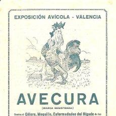Catálogos publicitarios: AVECURA Y CUNICURA - PRODUCTOS PARA GALLINAS Y CONEJOS - LABORATORIOS PRESAS PALAFRUGELL (GERONA). Lote 24759469