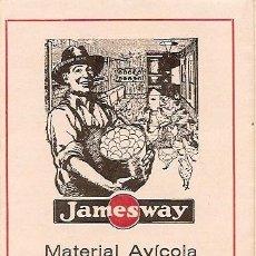 Catálogos publicitarios: MATERIAL AVÍCOLA INDUSTRIAL JAMESWAY - AGENTE EN BILBAO - AÑOS 30 - 9 X 17,5 CM DESPLEGABLE 45 X 35. Lote 24800250