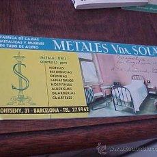 Catálogos publicitarios: METALES VDA. SOLÁ. FABRICA DE CAMAS METALICAS Y MUEBLES DE TUBO DE ACERO. . Lote 24867527