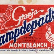 Catálogos publicitarios: ANTIGUA PUBLICIDAD - DIPTICO - GRANJA CAMPDEPADRÓS - MONTBLANCH - TARRAGONA. Lote 56950485