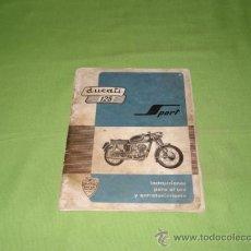 Catálogos publicitarios: CATALOGO PARA EL USO Y ENTRETENIMIENTO DE DUCATI 125 SPORT, ORIGINAL. 55 PAG.. Lote 28206140