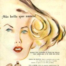 Catálogos publicitarios: PUBLICIDAD ANUNCIO DE CREMAS DE MAQUILLAJE ELIZABETH ARDEN. PRODUCTO DE PERFUMERIA. AÑO 1957. . Lote 25814671