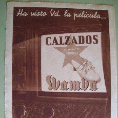 Catálogos publicitarios: HOJA PUBLICIDAD : CALZADOS WAMBA - PRODUCTO PIRELLI. Lote 26108671