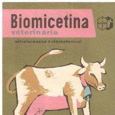 Catálogos publicitarios: ANTIGUA PUBLICIDAD LABORATORIOS BIOHORM BIOMICETINA.VETERINARIA.. Lote 27648049