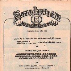 Catálogos publicitarios: PUBLICIDAD ANTIGUA. SEGUROS. SANTA LUCÍA S.A. 1970.. Lote 28320296