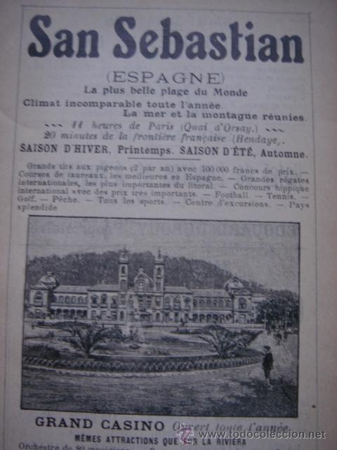 HOJA PUBLICITARIA DEL GRAN CASINO DE SAN SEBASTIAN, PAIS VASCO, PARIS, 1909, GUÍA JOANNE (Coleccionismo - Catálogos Publicitarios)