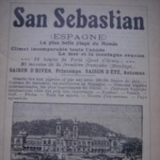 Catálogos publicitarios: HOJA PUBLICITARIA DEL GRAN CASINO DE SAN SEBASTIAN, PAIS VASCO, PARIS, 1909, GUÍA JOANNE. Lote 28354739