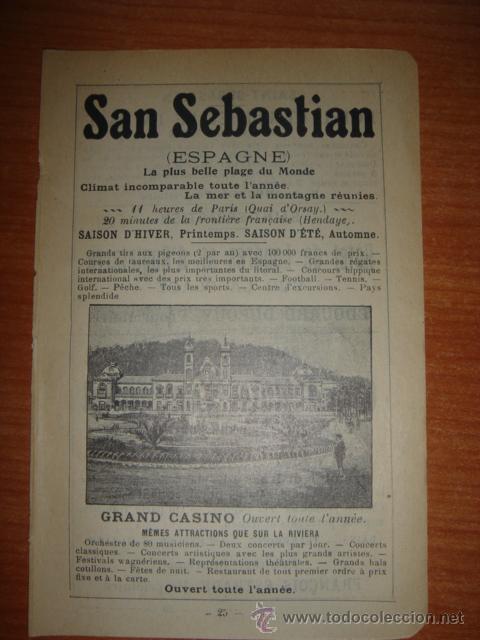 Catálogos publicitarios: HOJA PUBLICITARIA DEL GRAN CASINO DE SAN SEBASTIAN, PAIS VASCO, PARIS, 1909, GUÍA JOANNE - Foto 2 - 28354739