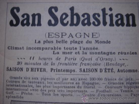 Catálogos publicitarios: HOJA PUBLICITARIA DEL GRAN CASINO DE SAN SEBASTIAN, PAIS VASCO, PARIS, 1909, GUÍA JOANNE - Foto 3 - 28354739