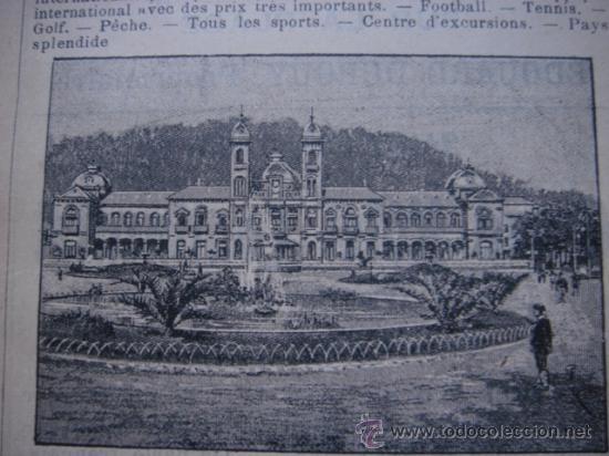 Catálogos publicitarios: HOJA PUBLICITARIA DEL GRAN CASINO DE SAN SEBASTIAN, PAIS VASCO, PARIS, 1909, GUÍA JOANNE - Foto 5 - 28354739