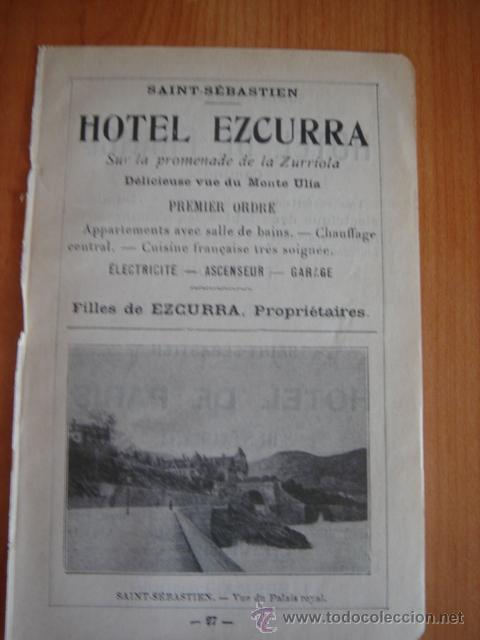 HOJA PUBLICITARIA DEL HOTEL EZCURRA DE SAN SEBASTIAN, PAIS VASCO, PARIS, 1909, GUÍA JOANNE. (Coleccionismo - Catálogos Publicitarios)