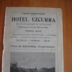 Catálogos publicitarios: HOJA PUBLICITARIA DEL HOTEL EZCURRA DE SAN SEBASTIAN, PAIS VASCO, PARIS, 1909, GUÍA JOANNE.. Lote 28627800