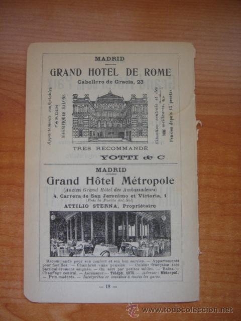 HOJA PUBLICITARIA DEL HOTEL METROPOL Y ROMA DE MADRID, PARIS, 1909, GUÍA JOANNE. (Coleccionismo - Catálogos Publicitarios)