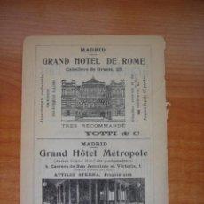 Catálogos publicitarios: HOJA PUBLICITARIA DEL HOTEL METROPOL Y ROMA DE MADRID, PARIS, 1909, GUÍA JOANNE.. Lote 28627872