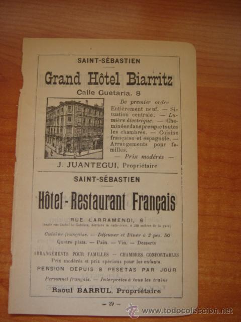 HOJA PUBLICITARIA DEL HOTEL BIARRITZ DE SAN SEBASTIÁN, PARIS, 1909, GUÍA JOANNE. (Coleccionismo - Catálogos Publicitarios)