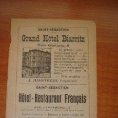 Catálogos publicitarios: HOJA PUBLICITARIA DEL HOTEL BIARRITZ DE SAN SEBASTIÁN, PARIS, 1909, GUÍA JOANNE.. Lote 28628093