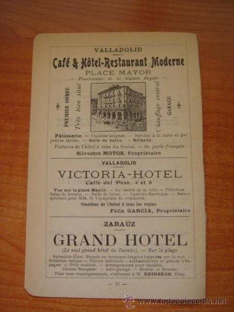 HOJA PUBLICITARIA DE CAFE HOTEL RESTAURANTE MODERNO DE VALLADOLID, PARIS, 1909, GUÍA JOANNE. (Coleccionismo - Catálogos Publicitarios)