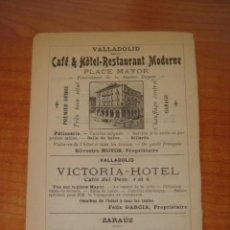 Catálogos publicitarios: HOJA PUBLICITARIA DE CAFE HOTEL RESTAURANTE MODERNO DE VALLADOLID, PARIS, 1909, GUÍA JOANNE.. Lote 28628362