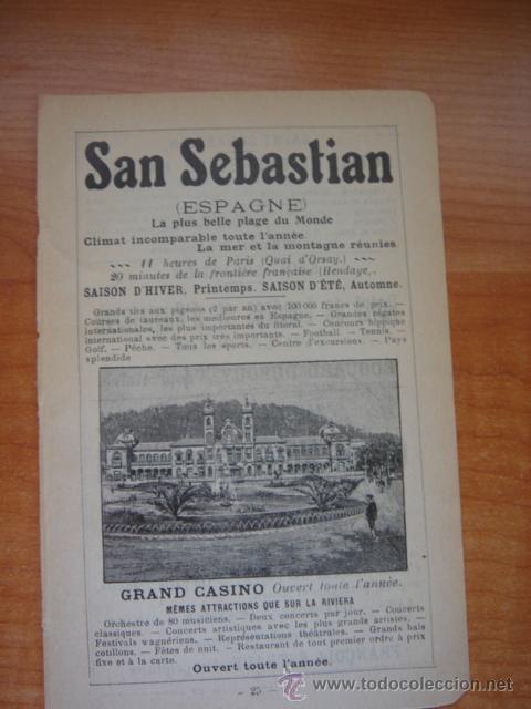 HOJA PUBLICITARIA DE SAN SEBASTIÁN Y SU GRAN CASINO, PARIS, 1909, GUÍA JOANNE. (Coleccionismo - Catálogos Publicitarios)