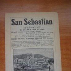 Catálogos publicitarios: HOJA PUBLICITARIA DE SAN SEBASTIÁN Y SU GRAN CASINO, PARIS, 1909, GUÍA JOANNE.. Lote 28628507