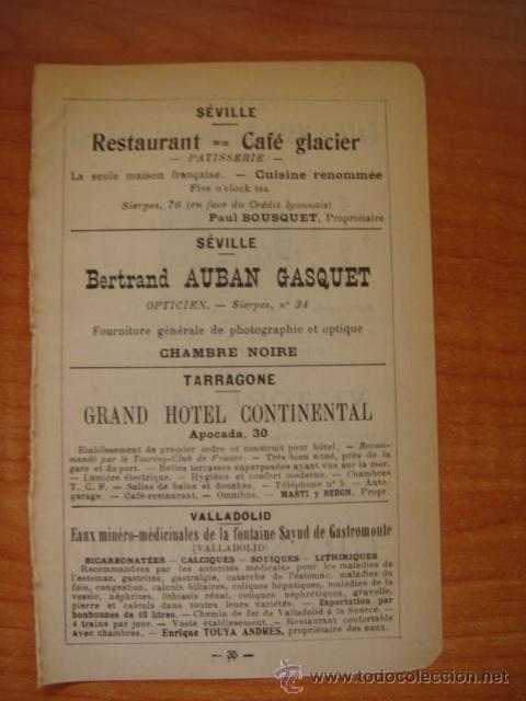 Catálogos publicitarios: HOJA PUBLICITARIA DE CAFE HOTEL RESTAURANTE MODERNO DE VALLADOLID, PARIS, 1909, GUÍA JOANNE. - Foto 4 - 28628362