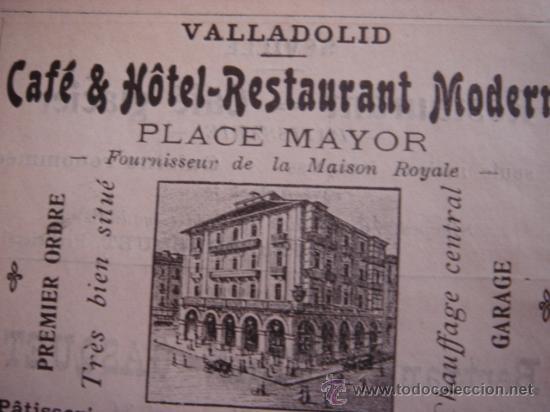 Catálogos publicitarios: HOJA PUBLICITARIA DE CAFE HOTEL RESTAURANTE MODERNO DE VALLADOLID, PARIS, 1909, GUÍA JOANNE. - Foto 3 - 28628362