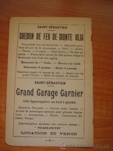 Catálogos publicitarios: HOJA PUBLICITARIA DEL HOTEL BIARRITZ DE SAN SEBASTIÁN, PARIS, 1909, GUÍA JOANNE. - Foto 5 - 28628093