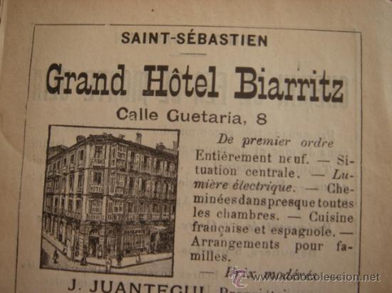 Catálogos publicitarios: HOJA PUBLICITARIA DEL HOTEL BIARRITZ DE SAN SEBASTIÁN, PARIS, 1909, GUÍA JOANNE. - Foto 3 - 28628093