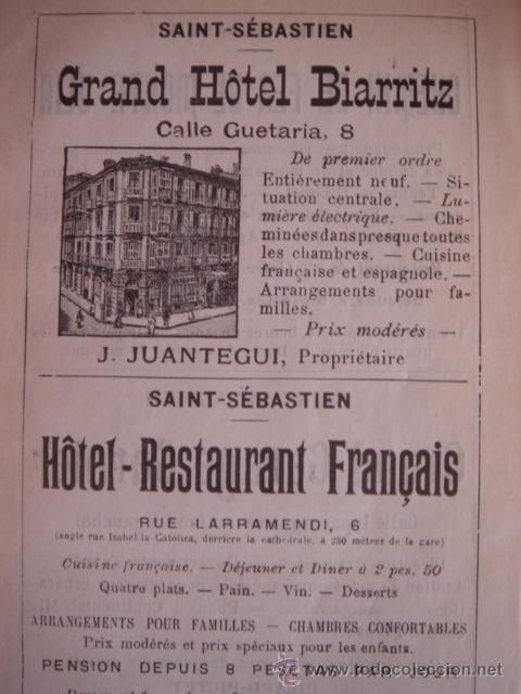 Catálogos publicitarios: HOJA PUBLICITARIA DEL HOTEL BIARRITZ DE SAN SEBASTIÁN, PARIS, 1909, GUÍA JOANNE. - Foto 2 - 28628093