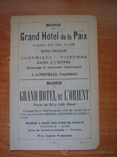 Catálogos publicitarios: HOJA PUBLICITARIA DEL HOTEL METROPOL Y ROMA DE MADRID, PARIS, 1909, GUÍA JOANNE. - Foto 5 - 28627872
