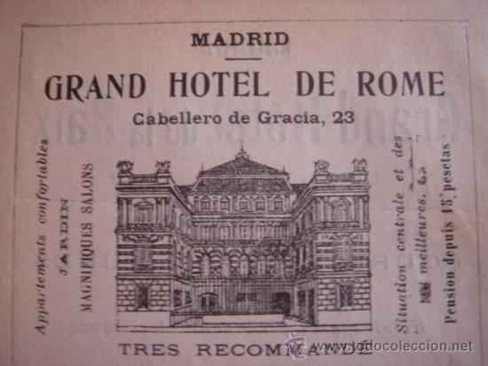 Catálogos publicitarios: HOJA PUBLICITARIA DEL HOTEL METROPOL Y ROMA DE MADRID, PARIS, 1909, GUÍA JOANNE. - Foto 2 - 28627872