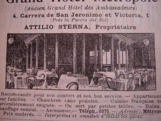 Catálogos publicitarios: HOJA PUBLICITARIA DEL HOTEL METROPOL Y ROMA DE MADRID, PARIS, 1909, GUÍA JOANNE. - Foto 4 - 28627872