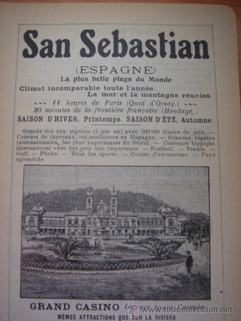 Catálogos publicitarios: HOJA PUBLICITARIA DE SAN SEBASTIÁN Y SU GRAN CASINO, PARIS, 1909, GUÍA JOANNE. - Foto 2 - 28628507