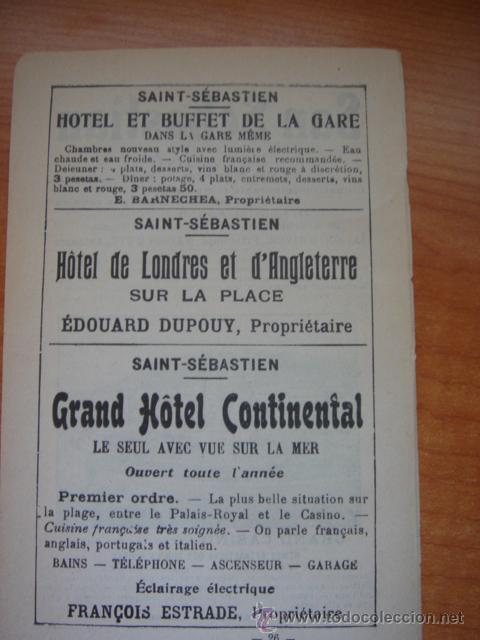 Catálogos publicitarios: HOJA PUBLICITARIA DE SAN SEBASTIÁN Y SU GRAN CASINO, PARIS, 1909, GUÍA JOANNE. - Foto 4 - 28628507