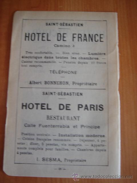 Catálogos publicitarios: HOJA PUBLICITARIA DEL HOTEL EZCURRA DE SAN SEBASTIAN, PAIS VASCO, PARIS, 1909, GUÍA JOANNE. - Foto 4 - 28627800