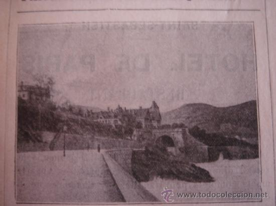 Catálogos publicitarios: HOJA PUBLICITARIA DEL HOTEL EZCURRA DE SAN SEBASTIAN, PAIS VASCO, PARIS, 1909, GUÍA JOANNE. - Foto 3 - 28627800