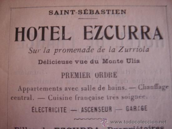 Catálogos publicitarios: HOJA PUBLICITARIA DEL HOTEL EZCURRA DE SAN SEBASTIAN, PAIS VASCO, PARIS, 1909, GUÍA JOANNE. - Foto 2 - 28627800