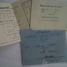 Catálogos publicitarios: CARTA CON CATALOGO Y PRECIOS DE PAPEL IMPRENTA LIBRERIA PAPELERIA ALVAREZ ISCAR VALLADOLID. Lote 28723510