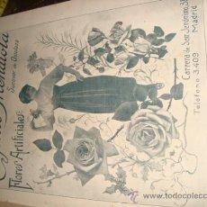 Catálogos publicitarios: PAPEL PUBLICITARIO 1919 , PUBLICIDAD DE LA EPOCA, EUGENIO MENDIOLA, FLORES ARTIFICIALES, MADRID. Lote 28851838