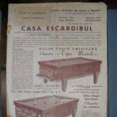 Catálogos publicitarios: CASA ESCARDIBUL.FABRICA DE BILLARES Y SUS ACCESORIOS-ARTICULOS DE RECREO Y DEPORTE.. Lote 29201326