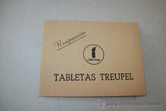 REAPARICIÓN- TABLETAS TREUPEL-S/F.- PEQUEÑO FOLLETO DOS HOJAS-MIDE 7 X 9.3 CM. CERRADO (Coleccionismo - Catálogos Publicitarios)